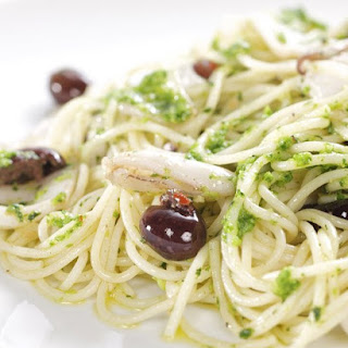 Spaghettini with Broccoli Rabe Pesto, Calamari and Ligurian Olives