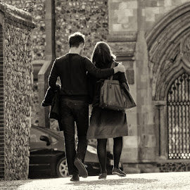 The Lovers by Janet Morgan - People Couples ( love, norwich, cathedral, couple, walk )