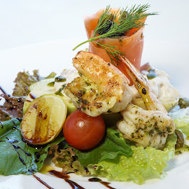 Light Shrimp salad by Katerina Galkina - Food & Drink Plated Food ( salad, shrimps, starter, caviar, salmon, black caviar )