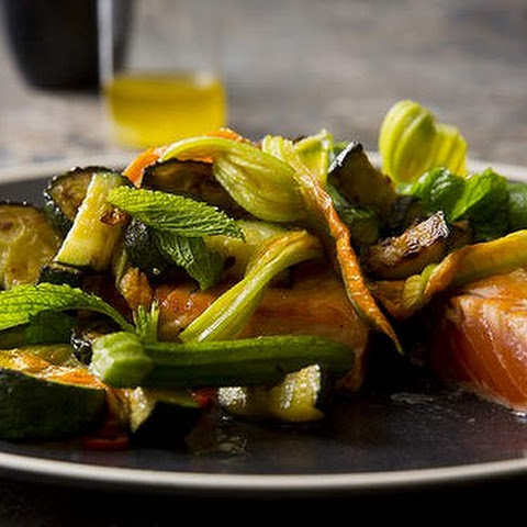 Pan-fried Salmon With Fried Zucchini, Zucchini Flowers, Chilli And Mint