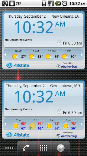 WeatherBug Time Temp widget