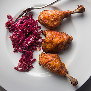 Garam Masala Roasted Chicken with Bread and Butter Cabbage