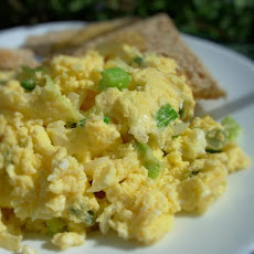 Cheesy Scrambled Eggs With Green Onions