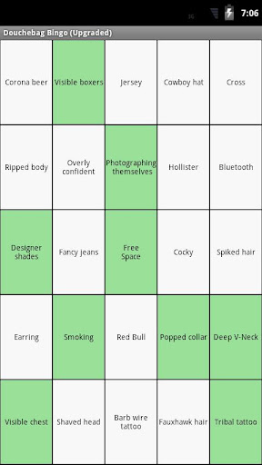 Douchebag Bingo