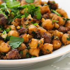 Spicy Sauteed Chickpeas with Beef and Cilantro