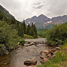 Maroon Bells by Dan Ferrin - Landscapes Mountains & Hills ( mountains, mountain, colorado, maroon bells, landscape )