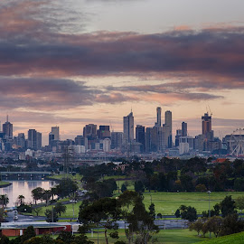 Sunrise over Melbourne, Australia by Craig 'Gurdy' Gurden - City,  Street & Park  Skylines ( melbourne, australia, sunrise )