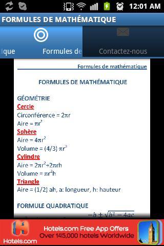 Formules de mathématique