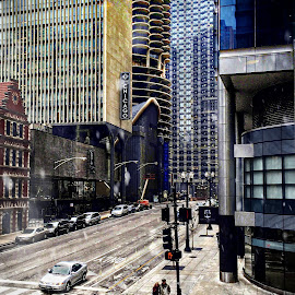 Chicago Winter In The City by Tricia Scott - City,  Street & Park  Street Scenes ( crossing, winter, house of blues, corner, snow, chicago, marina city, city )
