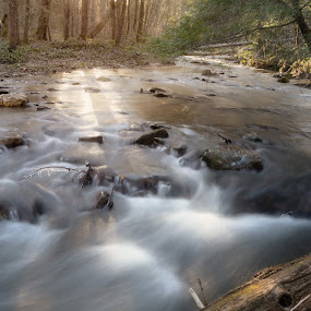 Fighting Creek, Tenesse by Lucian Badea - Landscapes Waterscapes ( sunset, creek, fighting creek, tenesse, long exposure, flow, gatlinburg, light, sun rays, rays, river, cataract falls )