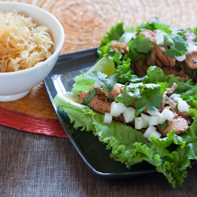 Korean Chicken Lettuce Wraps with Pickled Daikon Radish & Cellophane Noodles