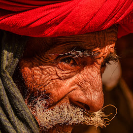 ROAMING REDHEAD by Abhi Shek - People Portraits of Men ( potrait, rajasthan, turban, indian, traditional, eyes, red, puskar, udaipur, old man, india, thar desert, culture )