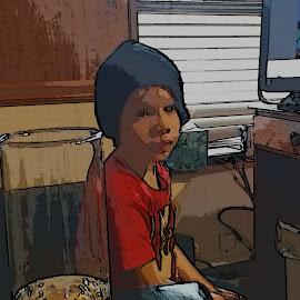 watching  by Cheri Whisonant - Babies & Children Children Candids ( brown eyes, cartoon, candid, little man, cute )
