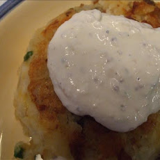 Ham and Potato Patties With Horseradish Sauce