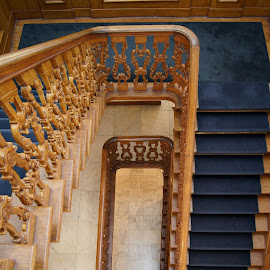Castle staircase by Anita Berghoef - Buildings & Architecture Other Interior ( timber, stairs, looking down, blue, staircase, white, architecture )