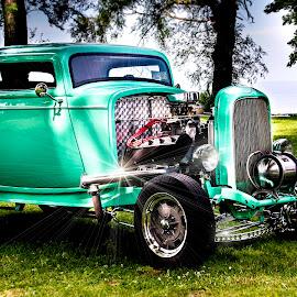 Sunday Drive by Sandra Hilton Wagner - Transportation Automobiles ( car, park, teal, transportation, classic,  )