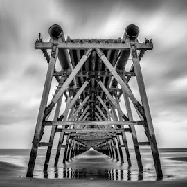 As time passes by Liam Robson - Landscapes Beaches ( black and white, pier, long exposure, landscape, nikon )