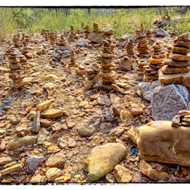 Rock Cairns by Michael Buffington - Nature Up Close Rock & Stone ( cairns, rock cairns, park, rocks )