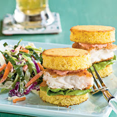 Fish Sliders on Cornbread Rounds with Red Pepper Mayonnaise
