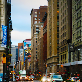 Looking up park Ave. from Union Square by Alec Halstead - City,  Street & Park  Street Scenes