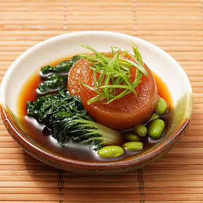 Japanese Simmered Daikon with Bok Choy and Edamame