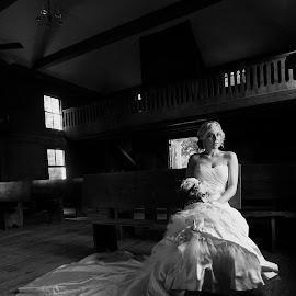 by Brooke Green - Wedding Bride ( natural light, black and white, bridal portrait, bride, stunning )