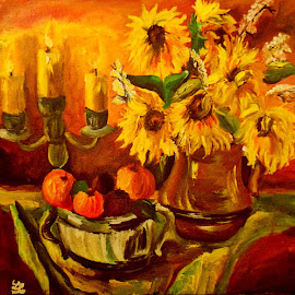 Still life with sunflowers by Livia Copaceanu - Painting All Painting ( sunflowers, painting )