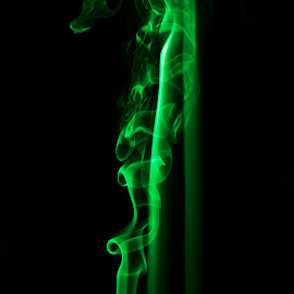by Lee Griffiths - Abstract Patterns ( black background, colour, low key, smoke )