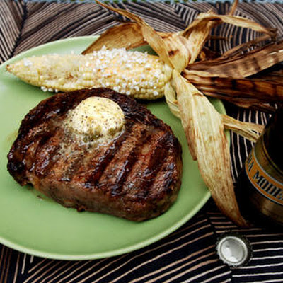 Grilled Rib-Eyes with Chile-Lime-Tequila Butter
