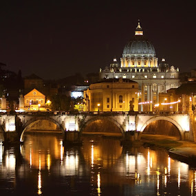 Vatican City by Bryan Rasmussen - Landscapes Travel ( night, vatican, bridge, italy )
