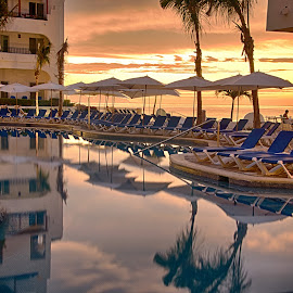 Poolside Serenity by Darrell Portz - Artistic Objects Furniture ( pool, mexico, hotel, sunrise, los cabos, relax, tranquil, relaxing, tranquility )