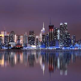 NY by Rahul Phutane - City,  Street & Park  Skylines ( rahulphutane, skyline, blue, rahul, long exp, new york )