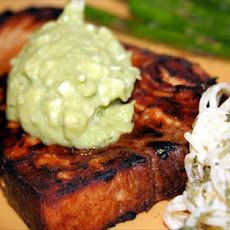Lemon Soy Swordfish With Avocado Butter