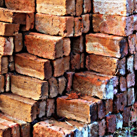 Stack of Bricks by Tamsin Carlisle - Abstract Patterns ( abstract, building, red, pattern, materials, bricks, pile, stack, construction, repetition,  )