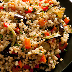 Grilled Eggplant and Red Pepper with Israeli Couscous Recipe