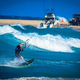 Blue by Theo Wolmarans - Sports & Fitness Surfing ( blue, kite, sea, beach, surf )