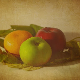 Buah Dan Daun by Bayu Rifai - Artistic Objects Still Life ( orange, apple, fruits )