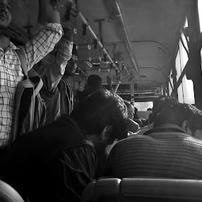 The Bus  by Sidd Harth - Instagram & Mobile Android ( mobilography, bus, black and white, street, crowd )