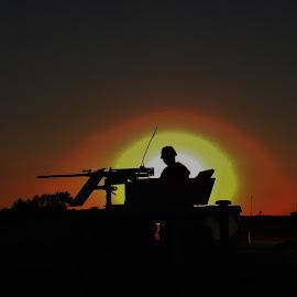En Garde by Michael Griffin - People Portraits of Men ( army, soldier, sunset, guard, vigilance )