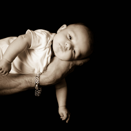 In your hands by Christine Jobin - Babies & Children Babies ( hand, bébé, garçon, sepia, sephia, hands, little, baby, boy )