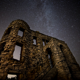 The Haunting by Andy Taber - Buildings & Architecture Decaying & Abandoned ( brick and mortar, building, night photography, mily way, stars, architecture, decaying, abandoned,  )