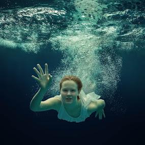 Hey. by Dmitry Laudin - People Portraits of Women ( water, blue, girl dress, bubbles, hair )