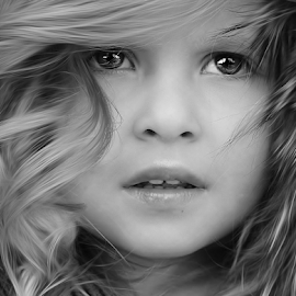 furry by Julian Markov - Black & White Portraits & People ( child, portrait. b&w, girl, ofera, hair, eyes )