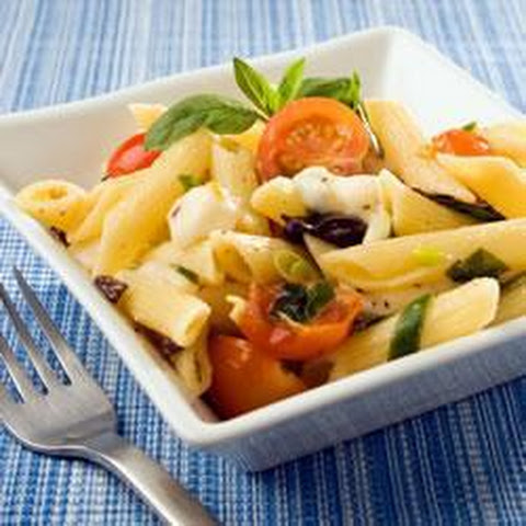 Pesto Penne Pasta Salad with Tomatoes, Zucchini & Mozzarella Recipe ...