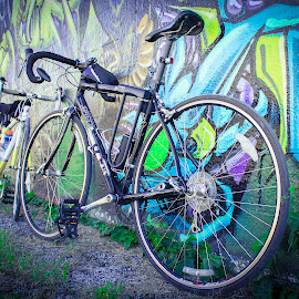 San Antonio wall art with road bikes by Jesse Rodriguez Jr - Transportation Bicycles ( cycle, bike, t3i, graffiti, cycling, tag, wall )