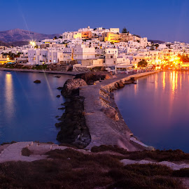 Naxos Island by Chris Kontoravdis - City,  Street & Park  Skylines ( naxos island, mediterranean, sea, night, historical )
