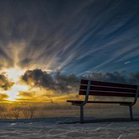Front Row by James Meyer - Landscapes Sunsets & Sunrises ( clouds, bench, heaven, seat, sunrise, bluff, front row, , golden hour, sunset, #GARYFONGDRAMATICLIGHT, #WTFBOBDAVIS )
