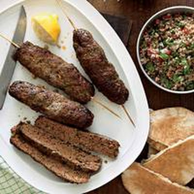 Lamb Kebabs with Spicy Greens Tabbouleh