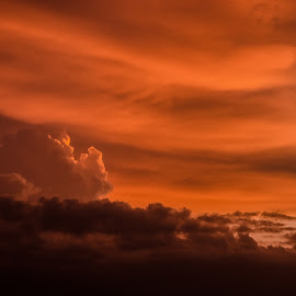 up in air by Nitish Bhat - Landscapes Cloud Formations ( fluffy, sunset, cloud, dusk, formation )