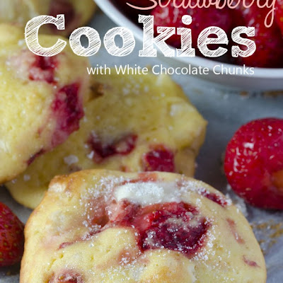 Strawberry Cookies With White Chocolate Chunks
